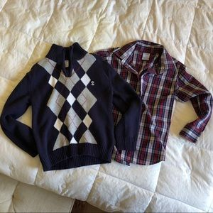 Izod two piece sweater and button up shirt